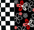 tiny black and white checks embellished with red and black flowers